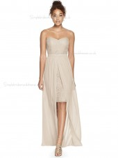 Vintage Amazing Applique Lace Sweetheart A-line Tea-length Champagne Bridesmaid Dress