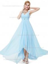 Fitted Discount Chiffon Empire Light Sky Blue Beading Sleeveless Floor-length A-line Sweetheart Bridesmaid Dress