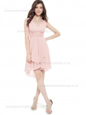 Fitted Best Ruffles A-line Empire Chiffon Knee-length V-neck Pink Sleeveless Bridesmaid Dress