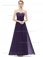 Vintage Stunning Floor-length Sweetheart A-line Chiffon Empire Beading Sleeveless Grape Bridesmaid Dress