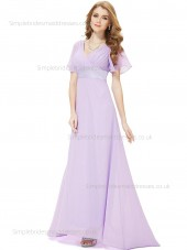 UK Romantica Empire Draped Lavender V-neck A-line Short Sleeve Chiffon Floor-length Bridesmaid Dress