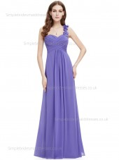 Budget Girls A-line Chiffon Empire Sweetheart Floor-length Sleeveless Draped Hand Made Flower Lavender Bridesmaid Dress