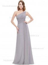 Designer Celebrity One Shoulder Sleeveless Gray Floor-length Chiffon Empire Draped A-line Bridesmaid Dress