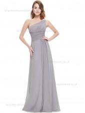 Designer Celebrity One Shoulder Sleeveless Gray Floor-length Chiffon Empire Draped A-line Bridesmaid Dress