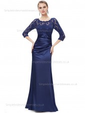 Beautiful Romantica Bateau Floor-length Natural Half-Sleeve Satin Mermaid Royal Blue Lace Bridesmaid Dress