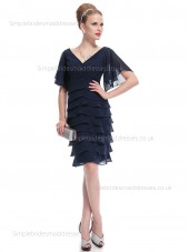 Budget Tiered Dark Navy Knee-length Chiffon Half-Sleeve Empire Column Sheath V-neck Bridesmaid Dress