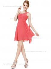 UK Best Sleeveless Chiffon Watermelon Knee-length Empire One Shoulder Draped A-line Bridesmaid Dress