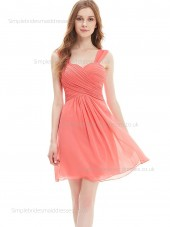 Fitted Girls Sweetheart Draped Chiffon A-line Knee-length Empire Sleeveless Watermelon Bridesmaid Dress