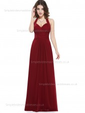 UK Romantica Draped Empire Chiffon Sweetheart Sleeveless A-line Floor-length Burgundy Bridesmaid Dress