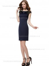 Beautiful Natural Sleeve Knee-length Satin Dark Navy Column Sheath Lace Bateau Cap Bridesmaid Dress
