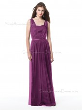 Tulle Bateau Sheath Floor-length Sleeveless Natural Purple Zipper Bridesmaid Dress