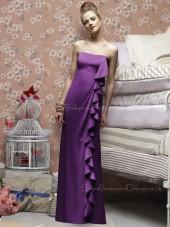 Satin Bateau Sheath Floor-length Sleeveless Natural Purple Zipper Bridesmaid Dress