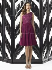 Chiffon One Shoulder A-line Knee-length Sleeveless Natural Purple Backless Bridesmaid Dress