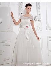Sleeve Satin A-Line Short Empire Zipper Ankle Length Ivory Bateau Lace / Beading / Hand Made Flower Wedding Dress