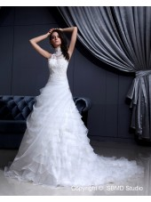 Zipper Ivory Natural Organza / Lace Sleeveless Lace / Beading A-Line / Ball Gown Chapel High Neck Wedding Dress