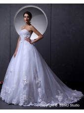 Sleeveless Organza Lace Up Ivory A-Line / Ball Gown Beading / Hand Made Flower / Applique Strapless Chapel Empire Wedding Dress