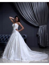 Ivory Chapel A-Line / Ball Gown Satin Zipper Sleeveless Beading / Embroidery / Ruffles Sweetheart Natural Wedding Dress
