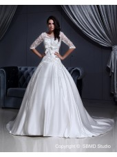 Short Zipper A-Line / Ball Gown Sleeve Satin / Lace Ivory Chapel Natural Lace / Applique V Neck Wedding Dress