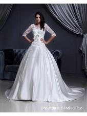 Short Zipper A-Line / Ball Gown Sleeve Satin / Lace Ivory Chapel Natural Lace / Applique V Neck Wedding Dress