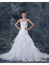 Natural Sleeve Organza Sweetheart Lace Up Ivory Short Beading / Ruffles A-Line Court Wedding Dress