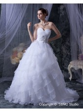 Lace Up Short Sleeve Court A-Line / Ball Gown Beading / Cascading-Ruffles Organza Ivory Natural Sweetheart Wedding Dress