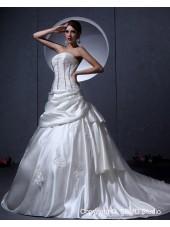 Sweep Ivory Applique / Beading / Buttons Sleeveless A-Line / Ball Gown / Princess Natural Bateau Zipper Satin Wedding Dress