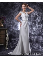 Sleeveless Ivory Taffeta Natural Zipper Column / Sheath Sweep V Neck Beading / Ruffles Wedding Dress