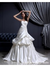 Applique / Cascading-Ruffles Empire A-Line Ivory Satin Sweetheart Sleeveless Court Lace Up Wedding Dress