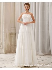 Zipper Sleeveless Natural Ivory Chiffon A-Line Court Strapless / Bateau Ruffles / Beading / Hand Made Flower Wedding Dress