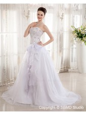 Natural Sweetheart Beading / Bow / Applique Sleeveless Ivory Satin / Organza A-Line Chapel Zipper Wedding Dress