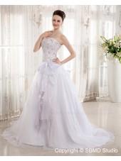 Natural Sweetheart Beading / Bow / Applique Sleeveless Ivory Satin / Organza A-Line Chapel Zipper Wedding Dress