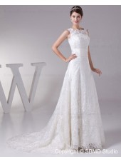 Court Lace Lace Up Lace / Satin / Tulle Sleeveless Empire Bateau Ivory A-line Wedding Dress