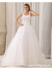 Natural Satin / Organza Sleeveless Applique / Beading Halter Zipper A-Line / Ball Gown Floor-length Ivory Wedding Dress