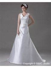 Natural Lace Up Satin Court Sleeveless Ivory V Neck Appliques / Beading A-line Wedding Dress
