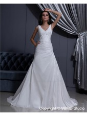Ruffles Ivory Sleeveless V Neck A-Line Taffeta Natural Court Lace Up Wedding Dress