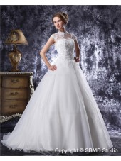 Beading / Applique Ivory A-Line / Ball Gown Floor-length Zipper Natural Organza / Satin High Neck Sleeveless Wedding Dress