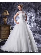 Beading / Applique Ivory A-Line / Ball Gown Floor-length Zipper Natural Organza / Satin High Neck Sleeveless Wedding Dress