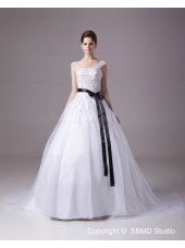 Square Lace / Satin / Yarn Zipper A-Line / Ball Gown Ivory Natural Sleeveless Beading / Applique / Sash Court Wedding Dress