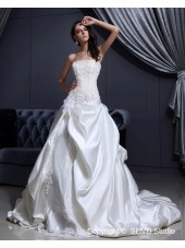 Beading / Applique / Ruffles / Hand Made Flower Lace Up A-line Satin Natural Ivory Chapel Strapless Sleeveless Wedding Dress