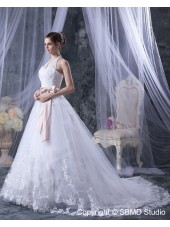 Empire A-line Ivory Sleeveless Lace / Beading / Applique Satin / Organza Halter Zipper Court Wedding Dress