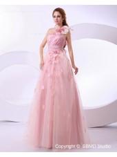Floor-length Hand Made Flower / Ruffles Sleeveless A-line Zipper Satin / Organza Empire Ivory One Shoulder Wedding Dress