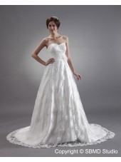 Ivory Satin / Lace Zipper Sleeveless A-line Court Empire Lace / Beading / Applique Sweetheart Wedding Dress