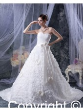 Hand Made Flower / Ruffles Ivory Satin / Taffeta A-line Empire Zipper Sleeveless Sweetheart Chapel Wedding Dress