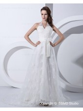 A-line Empire Ivory Zipper Court Halter Embroidery / Beading / Bow Satin Sleeveless Wedding Dress