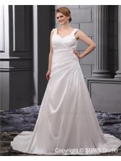 Beading / Ruffles Ivory Size Straps A-line / Plus Empire Lace Up Sleeveless Satin Court Wedding Dress