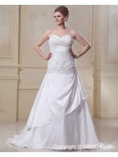 Sleeveless Ivory Sweep Satin / Organza A-line / Plus Lace Up Ruffles / Beading Empire Size Sweetheart Wedding Dress