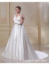 A-line / Plus Ivory Zipper Satin Size Empire V Neck Court Ruffles / Bow Sleeveless Wedding Dress