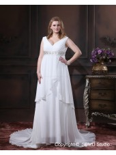 Size Chapel Ivory Chiffon Sleeveless Empire V Neck Lace Up A-line / Plus Beading / Sash Wedding Dress