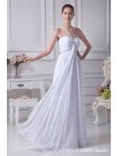 Sweetheart / One Shoulder A-line Chiffon Sweep Sleeveless Beading / Ruffles Ivory Zipper Empire Wedding Dress