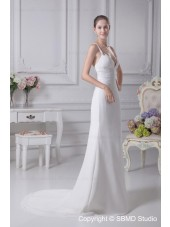 Sleeveless Empire A-line Chapel V Neck Ivory Beading Zipper Chiffon / Satin Wedding Dress